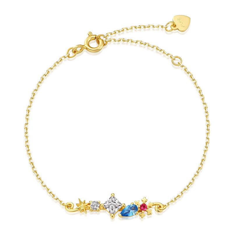 Snowy night sterling silver chain bracelet