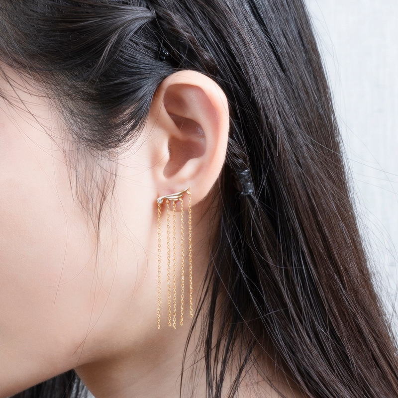 Angel wing tassel sterling silver earrings