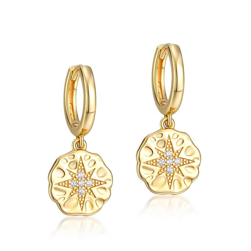 Star coin stering silver huggie earrings