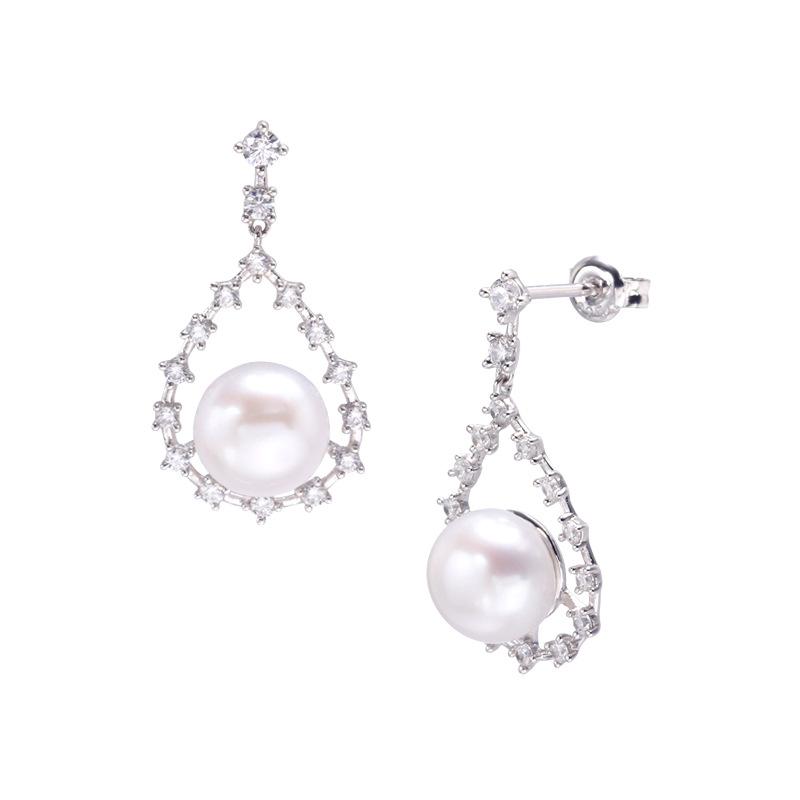 Modern white pearl sterling silver earrings