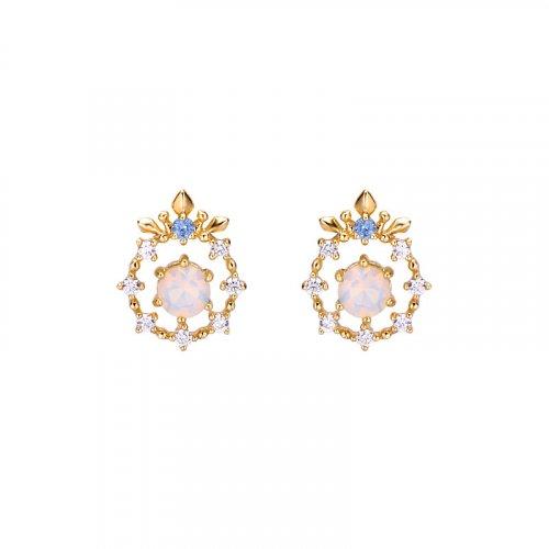 Opal snowflake sterling silver stud earrings