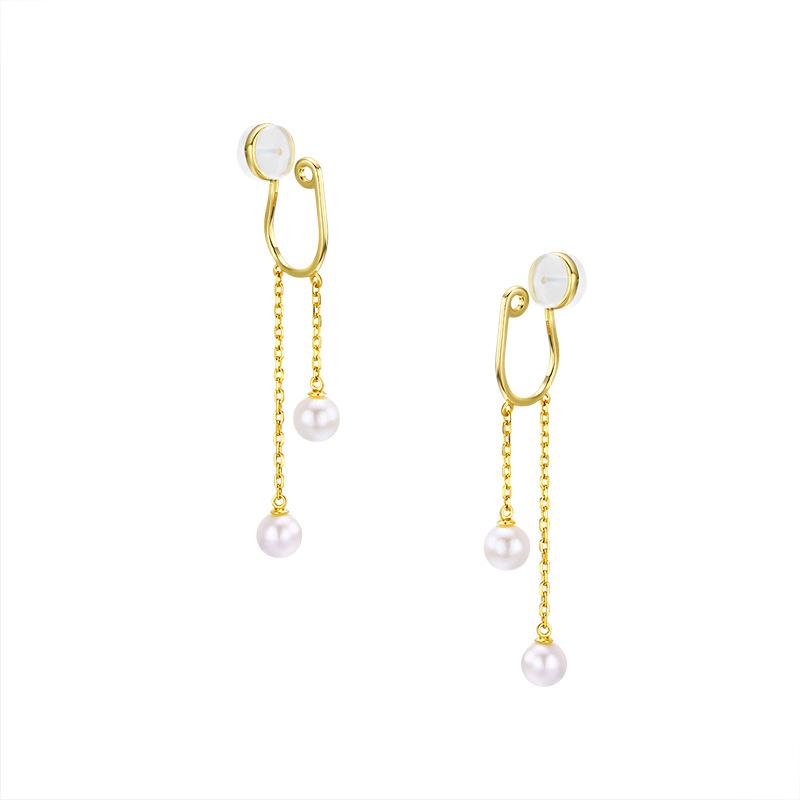 White pearl tassel sterling silver ear clips in 14K gold vermeil