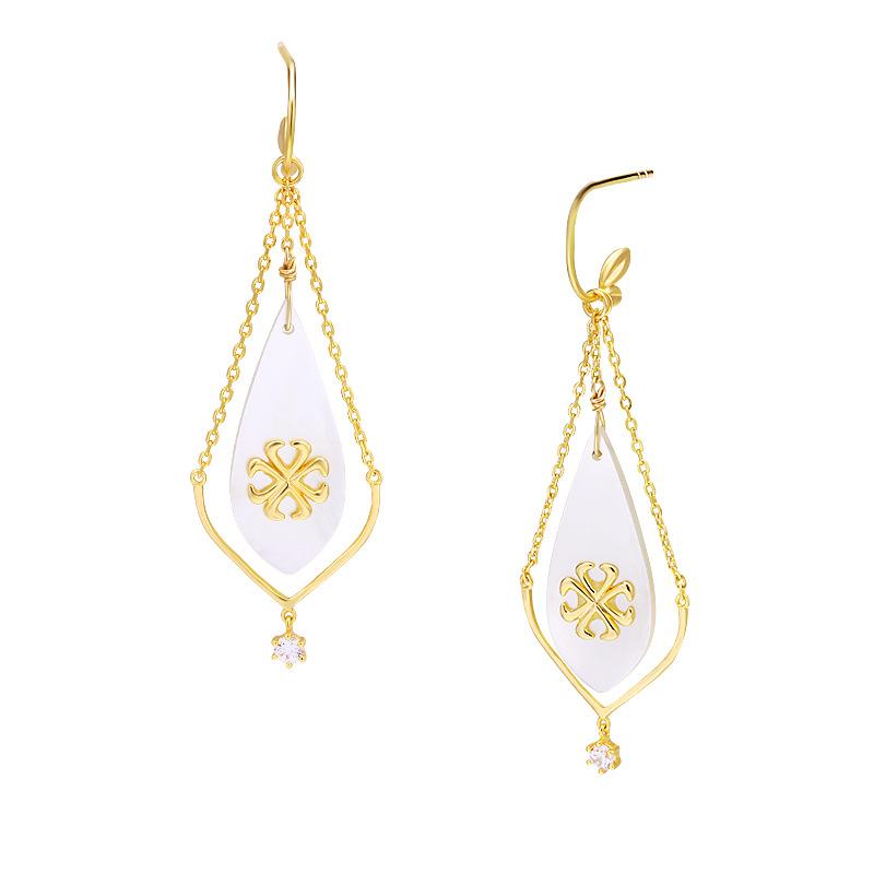 Embossed mother-of-pearl detachable silver hoop earrings