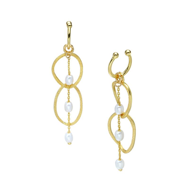 White pearl circular silver ear clips