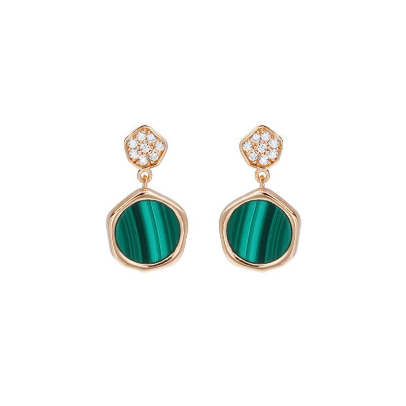 Rose gold malachite silver stud earrings