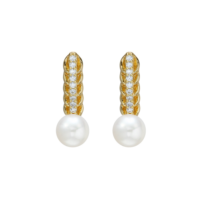 White pearl long bar sterling silver stud earrings in 14K gold vermeil