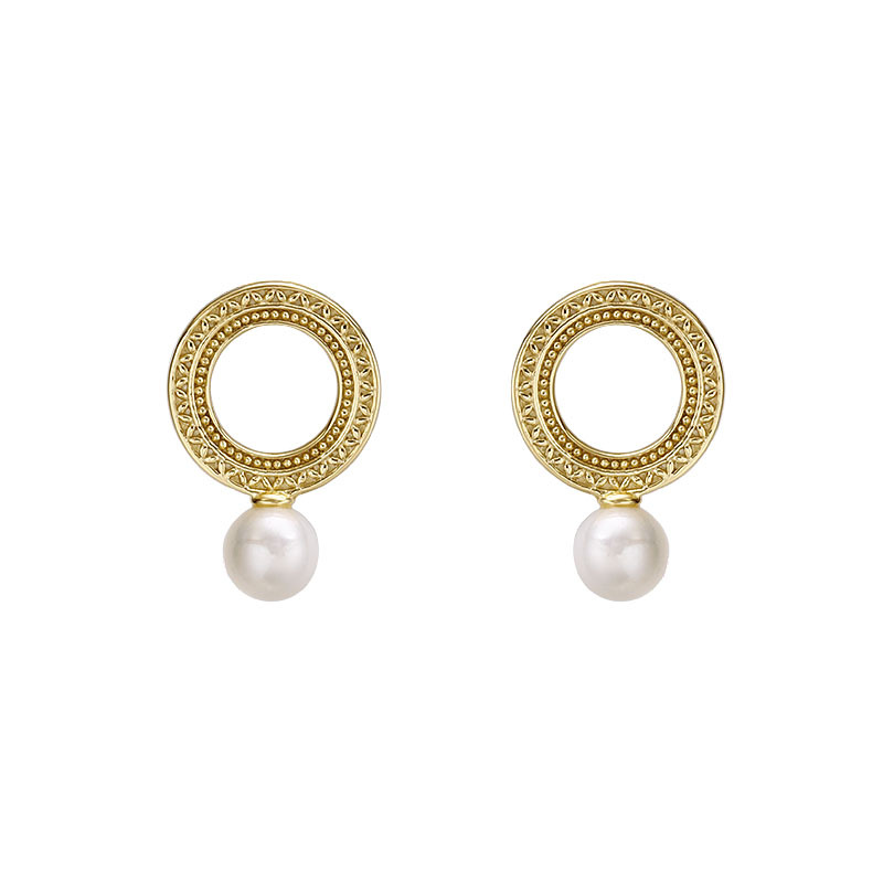 White pearl circle sterling silver stud earrings in 14K gold vermeil