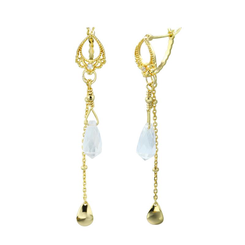 White quartz tassel sterling silver earrings