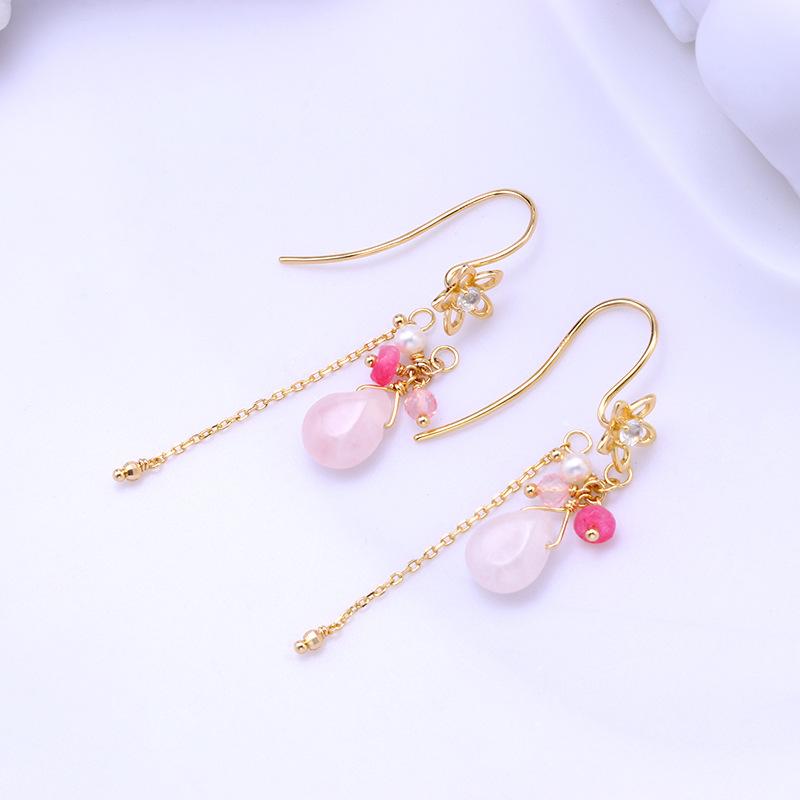 Pink sakura tassel sterling silver hoop earrings
