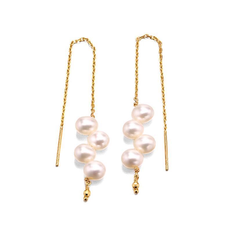 Four-pearl sterling silver drop earrings