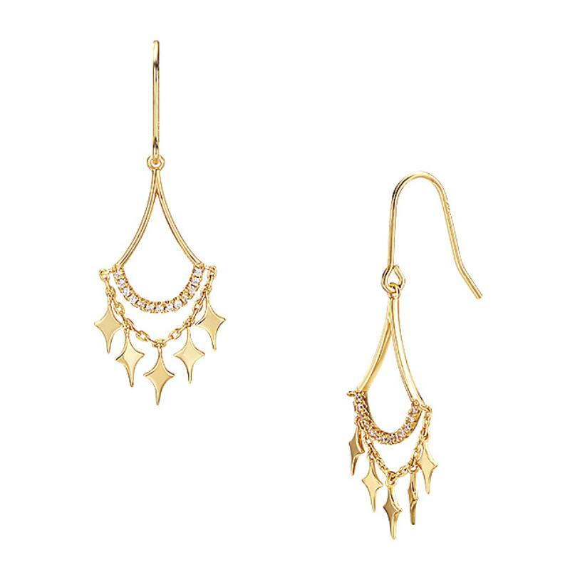 Star tassel sterling silver hoop earrings