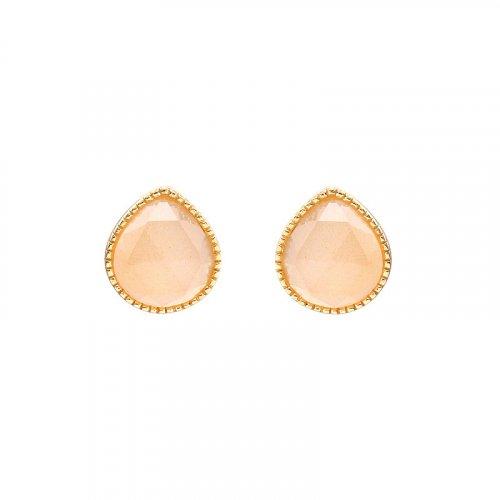 Orange moonstone sterling silver stud earrings in 14K gold vermeil