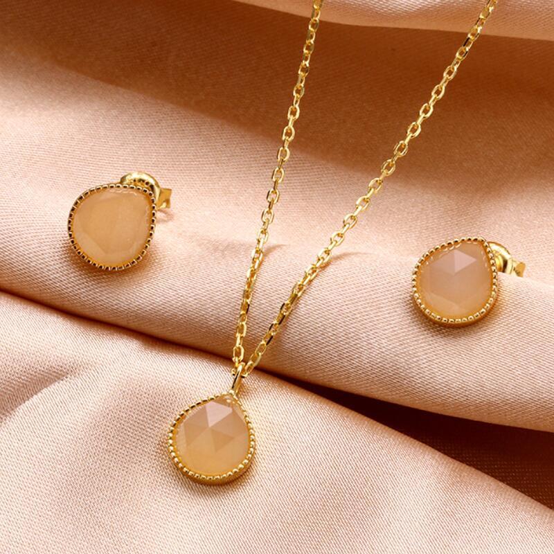 Orange moonstone sterling silver jewelry set