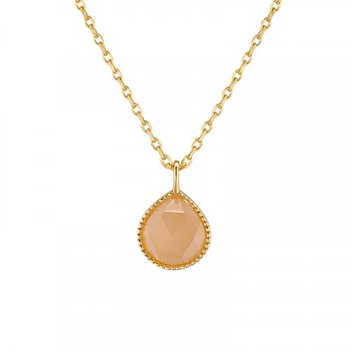 Orange moonstone sterling silver necklace in 14K gold vermeil