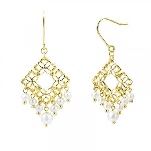 Carved white pearl tassle sterling silver hoop earrings