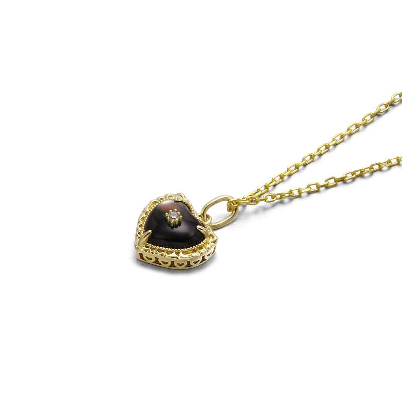 Black heart sterling silver pendant in 14K gold vermeil