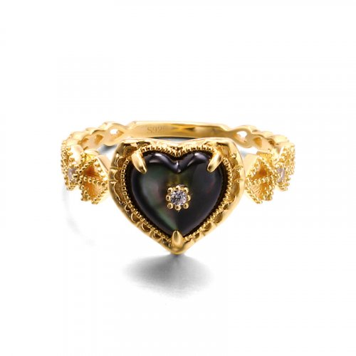 Black heart sterling silver band ring