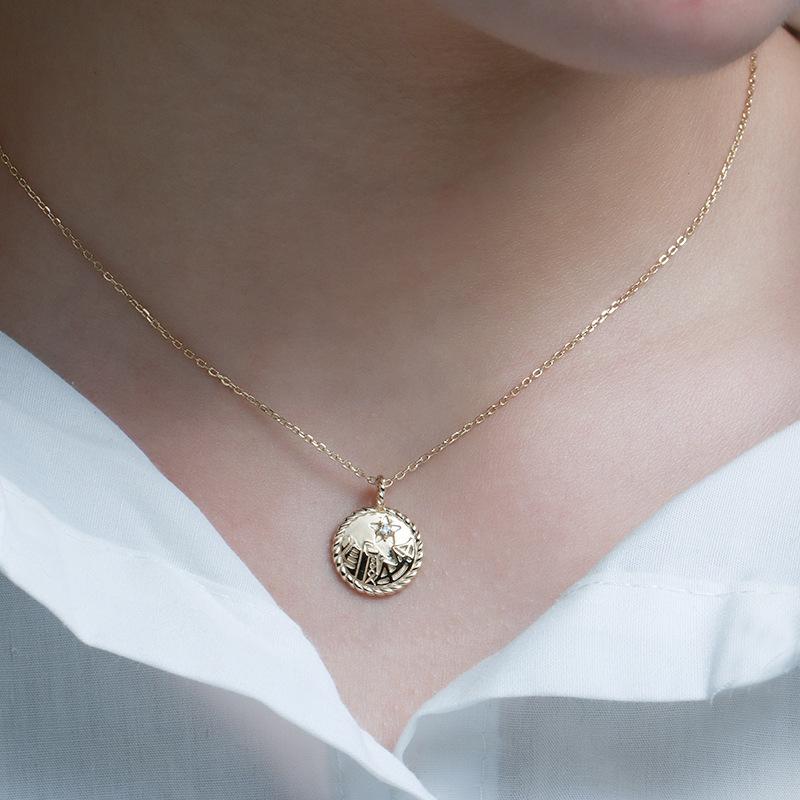 Vintage coin sterling silver necklace in 14K gold vermeil