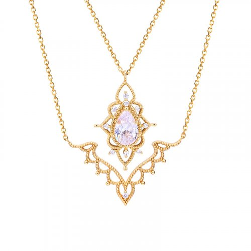 Glamor zircon sterling silver double necklace in 14K gold vermeil