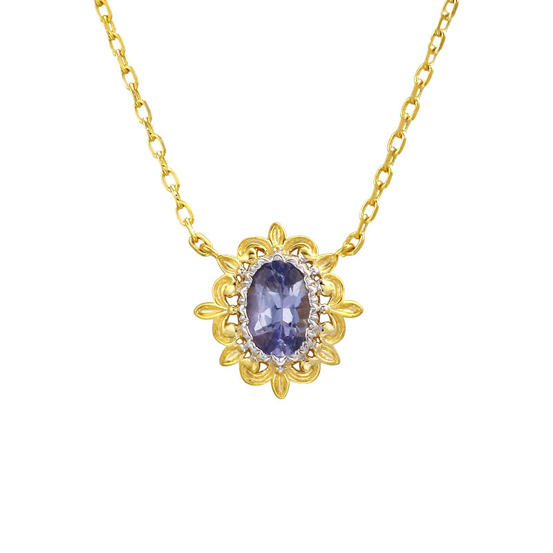 Tanzanite sterling silver necklace in 14K gold vermeil