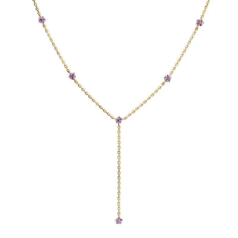 Purple zircon tassel sterling silver necklace