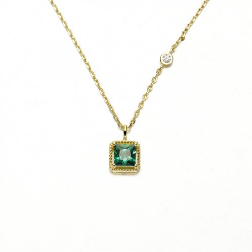 Green zircon sterling silver necklace