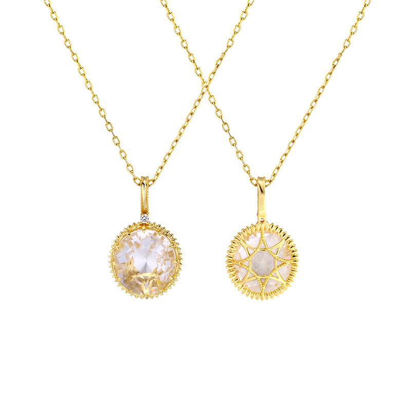 White quartz double-side sterling silver pendant