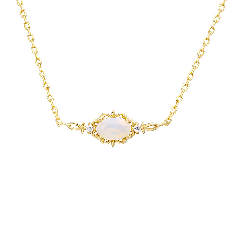 Opal & zircon sterling silver necklace in 14K gold vermeil