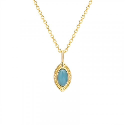 Marquise shape topaz sterling silver necklace