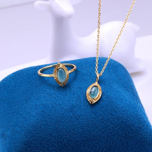 Marquise cut topaz sterling silver jewelry set