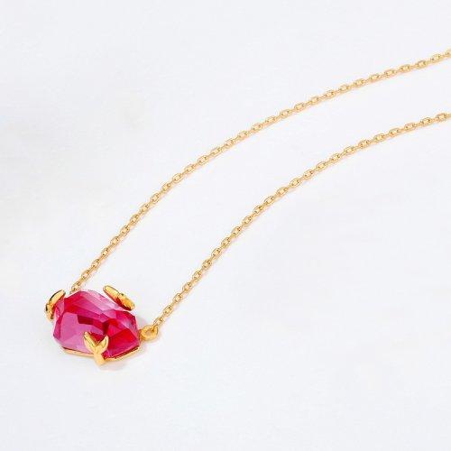 Pink topaz sterling silver necklace in 9K gold vermeil