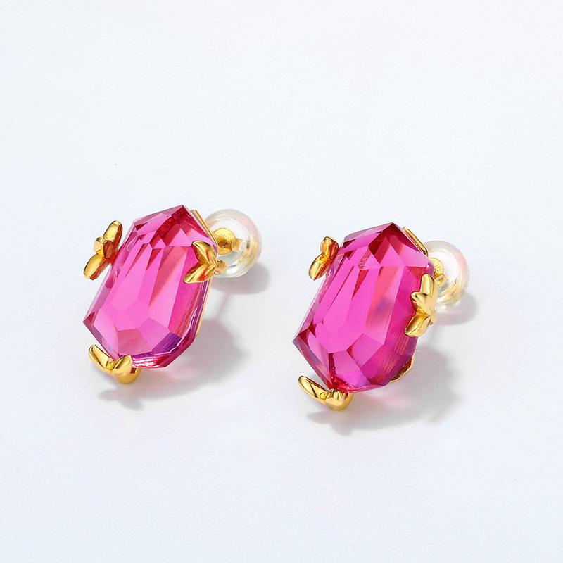Pink topaz sterling silver stud earrings in 9K gold vermeil
