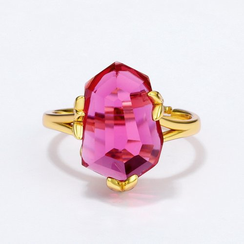 Pink topaz sterling silver ring in 9K gold vermeil