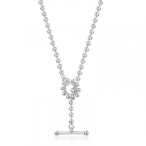 Casual sterling silver small ball chain necklace