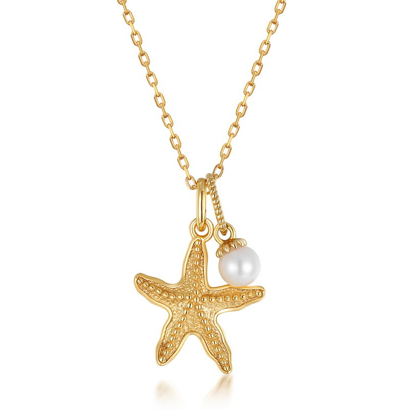 Starfish sterling silver necklace in 9K gold vermeil