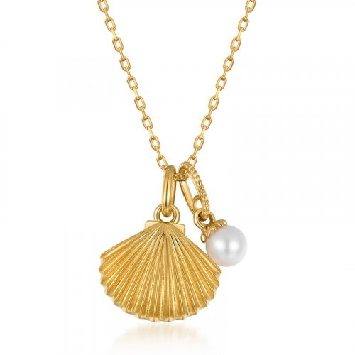 Seashell sterling silver necklace in 9K gold vermeil