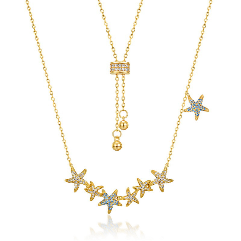 Sparkle starfish sterling silver necklace in 9K gold vermeil