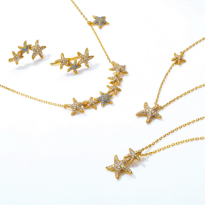 Sparkle starfish sterling silver jewelry set