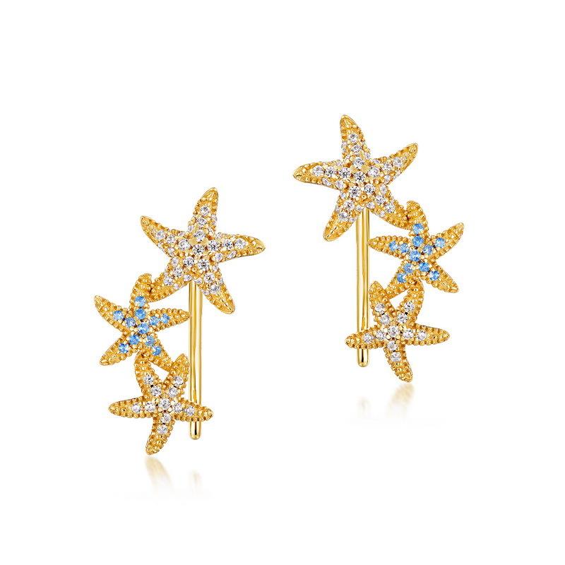 Sparkle starfish sterling silver stud earrings in 9K gold vermeil