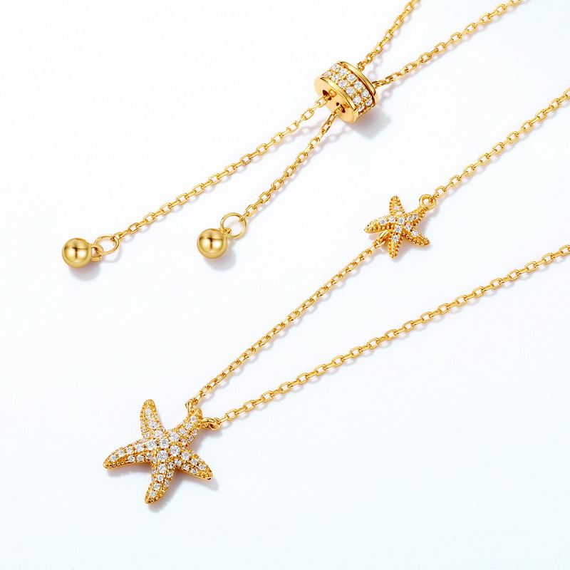 Sparkle starfish sterling silver flexible necklace in 9K gold vermeil