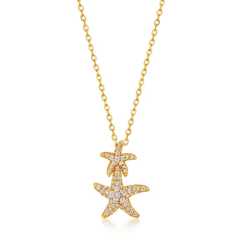 Sparkle starfish sterling silver pendant in 9K gold vermeil