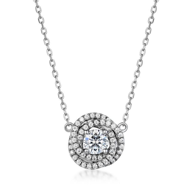 Bridal moissanite rose flower necklace