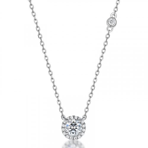 Classic round moissanite sterling silver necklace