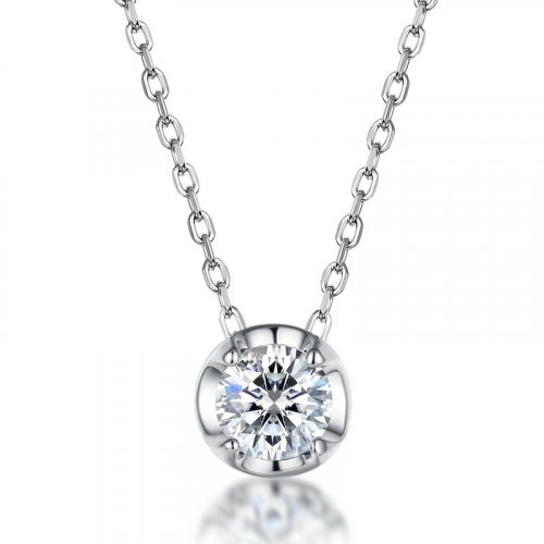 Four-prong moissanite sterling silver necklace