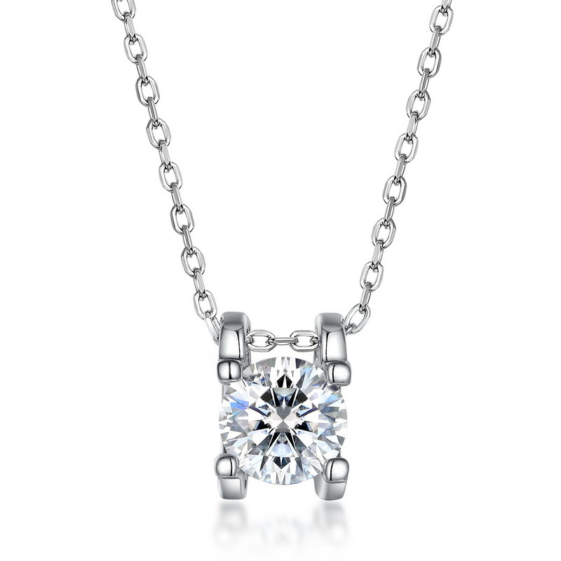 C-type prong set moissanite sterling silver necklace