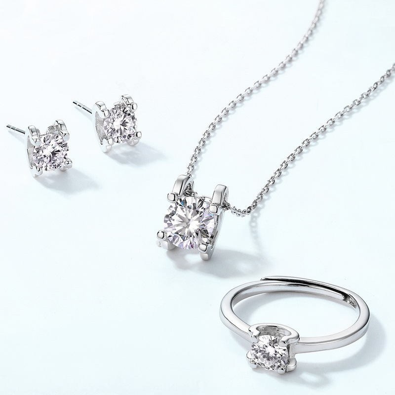 C-type prong set moissanite sterling silver jewelry set