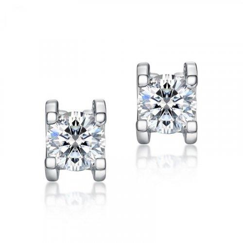 C-type prong set moissanite sterling silver stud earrings