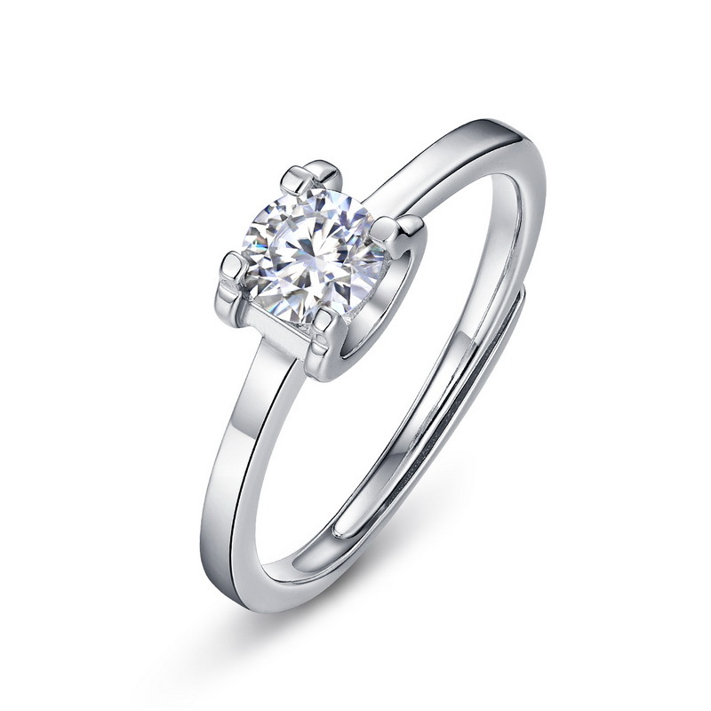 C-type prong set moissanite sterling silver engagement ring