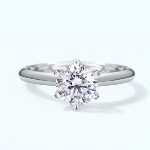 Classic six-prong moissanite sterling silver engagement ring