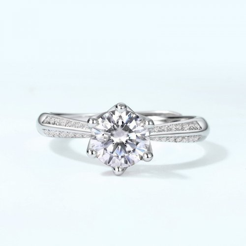 Elegant six-prong moissanite sterling silver engagement ring